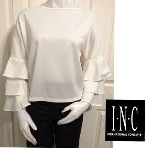 International Concepts, Ruffled Sleeved Crop Top